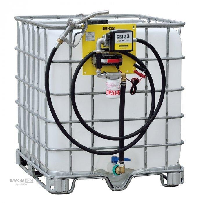 Мини-заправка, мини АЗС для дизельного топлива, на базе Еврокуба на 1000 литров