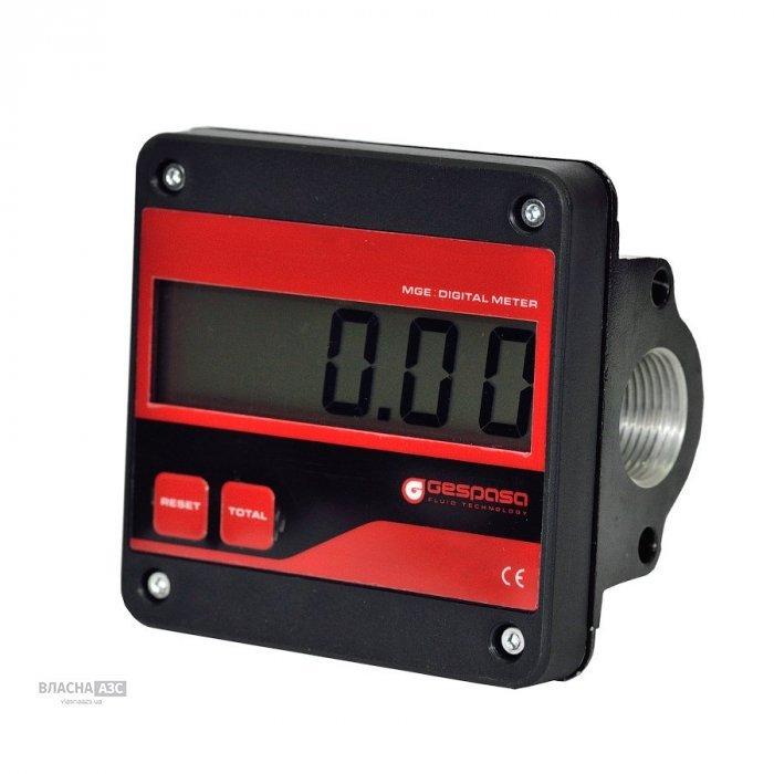 Электронный счетчик MGE-110 для бензина, ДТ, масла, 5-110 л/мин, +/-0,5%, Испания
